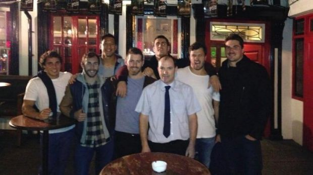 Some of the Wallabies at the Brazen Head pub in Dublin.