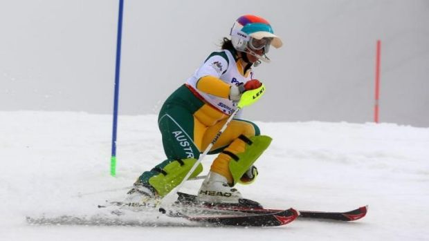 Disqualified: Australian vision-impaired skier Melissa Perrine and the visor in question.