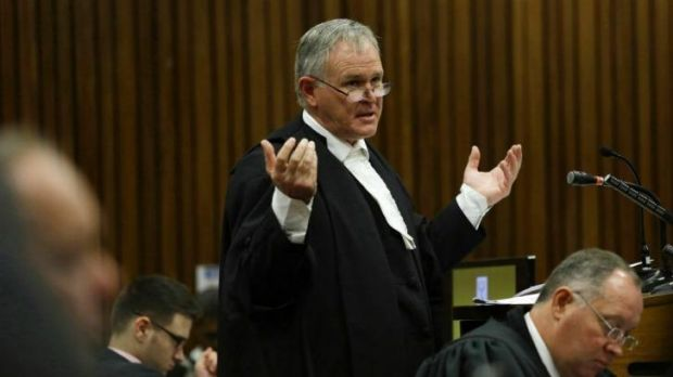 Cross-examination: Barry Roux, the lawyer defending Oscar Pistorius, speaks at the  High Court in Pretoria on March 11.