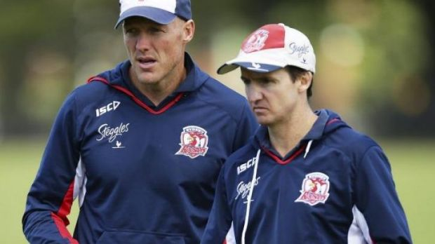 Hard at work: Sydney Roosters assistant coach Jason Taylor, right, was impressed with Parramatta's opening round display.