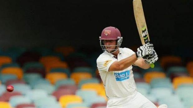 Queensland's Joe Burns made a healthy 71 before being dismissed by John Hastings.