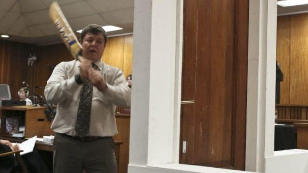 Drama in court: Johannes Vermeulen with the cricket bat.