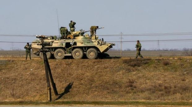A Russian APC and soldiers near the Crimean town of Djankoy.