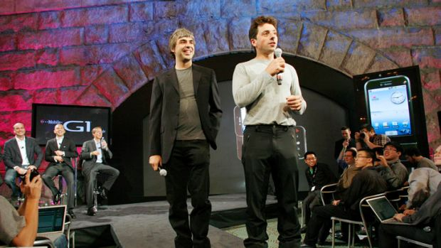 Google founders Larry Page, left, and Sergey Brin