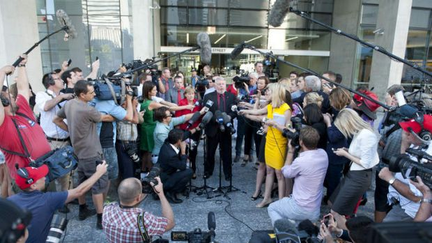 Denise and Bruce Morcombe bravely faced the media scrum after Thursday's guilty verdict.