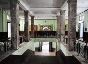 Office space ... The grand interior lobby of  former government offices in Yangon's waterfront precinct.