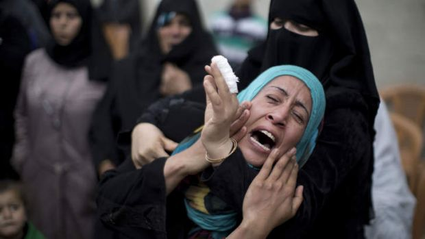 A relative of one of three Palestinian militants from the Islamic Jihad's armed wing who were killed in an Israeli ...
