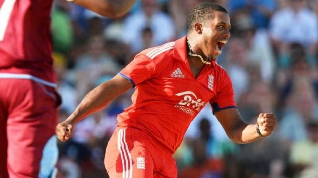 Man of the match: England allrounder Chris Jordan celebrates taking the wicket of Marlon Samuels.