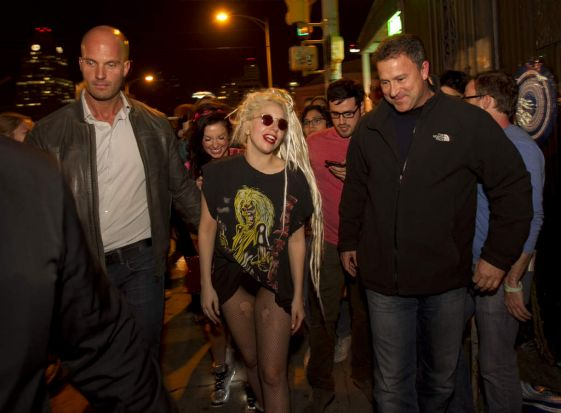 Key speaker Lady Gaga walks down a street during SXSW 2014 Music Festival early Wednesday, March 12.