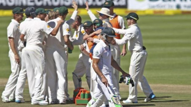 Australia celebrate the wicket of Faf du Plessis during the third and deciding Test in Cape Town. Three-test series may ...