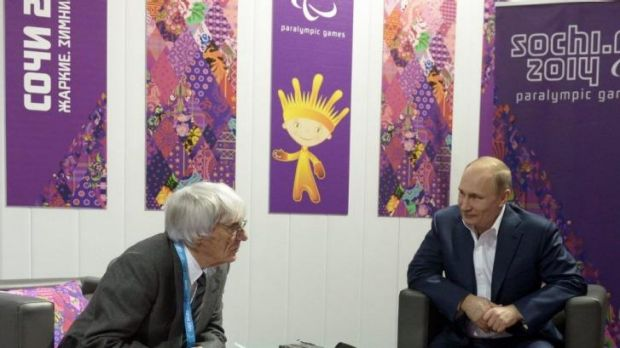 Friends in high places: formula one boss Bernie Ecclestone meets with Russian president Vladimir Putin earlier this month.