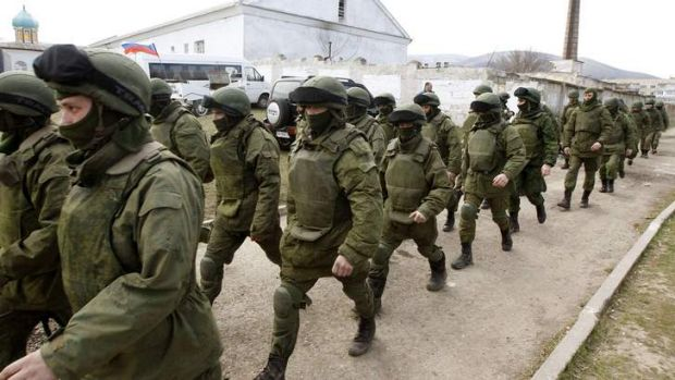 On the march: Russian troops near the Crimean city of Simferopol.