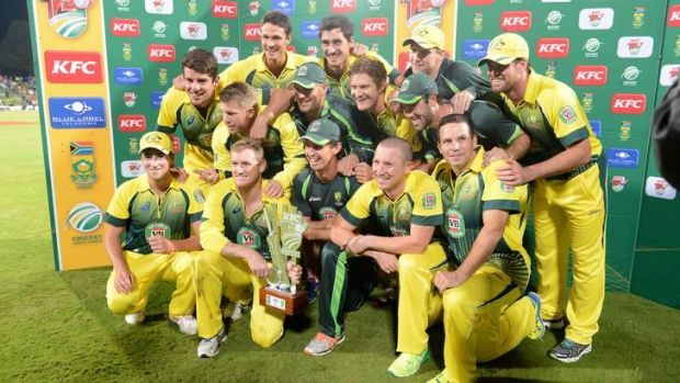 Dominant force: Australia celebrate their Twenty20 series win over South Africa at Centurion.