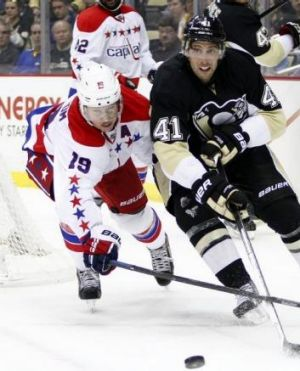 Nicklas Backstrom (left) in action for the Washington Capitals in the NHL.