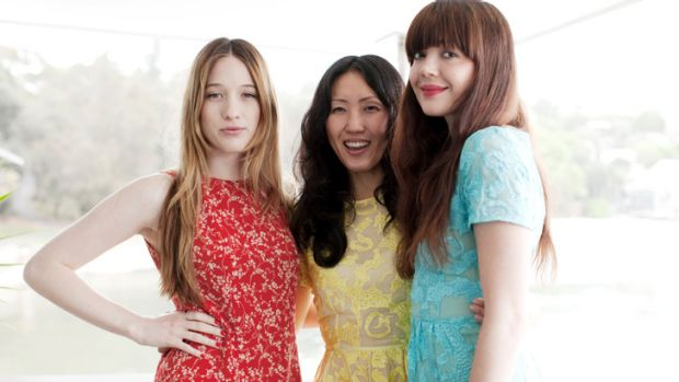 Fashion Designer Yeojin Bae with actresses Sophie Lowe and Emma Lung.