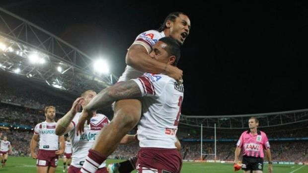 Bargain buy: Jorge Taufua, embraced by Steve Matai, celebrates scoring the opening try in Manly's grand final loss to ...