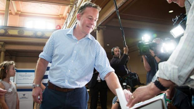 Liberal leader Will Hodgman voting in the Tasmanian state election at Hobart City Hall on Saturday.