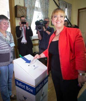 Tasmanian Premier Lara Giddings voting at the St Aidan's Church Hall polling place in the Hobart suburb of Lindisfarne.