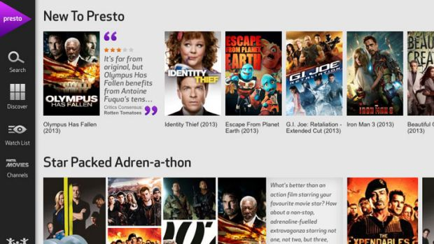 Foxtel's Presto movie service running on an Apple iPad.