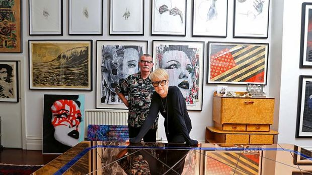St Kilda collectors Sandra Powell and Andrew King are selling works by Nolan and Beckett to support Australian street ...