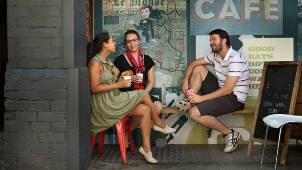 Future leaders: Viv Benjamin, left, relaxes with Hilary Viney and Lloyd Aiderman.