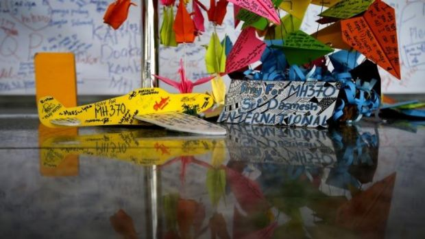Messages dedicated to people on the missing plane at Kuala Lumpur International Airport.