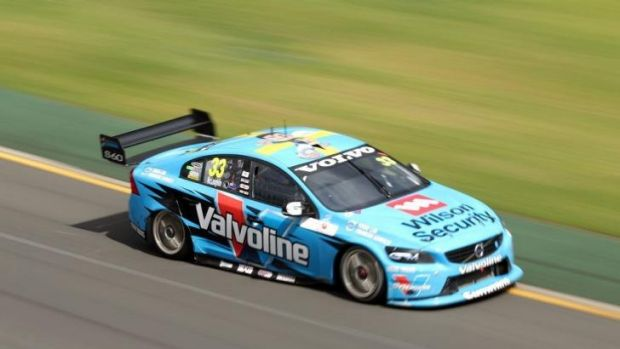 Scott McLaughlin drives during race four of the V8 Supercars Challenge.