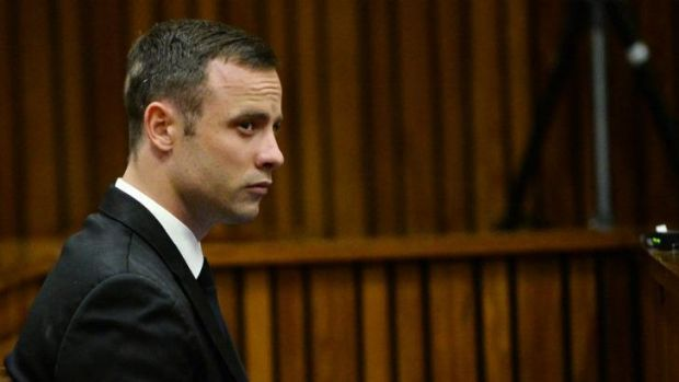 South African Paralympic athlete Oscar Pistorius during his murder trial.