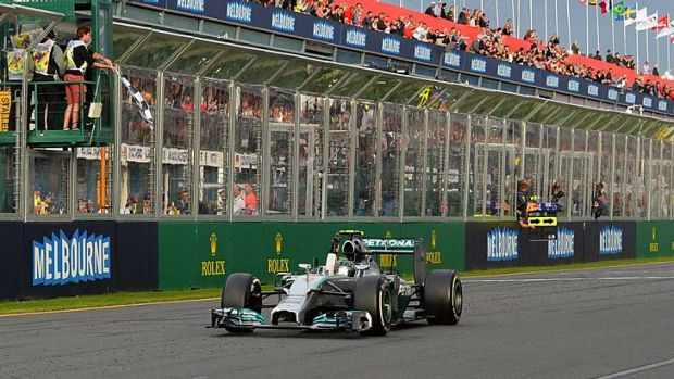 Mercedes driver Nico Rosberg of Germany crosses the finish line to win the Formula One Australian Grand Prix on Sunday.