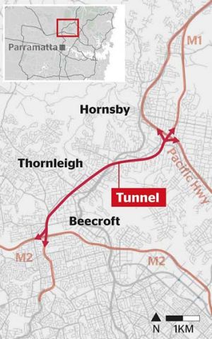 Map: The NorthConnex will be built with higher tunnels than other Sydney motorways.