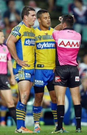 On report: Parramatta's Darcy Lussick.