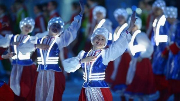 Dancers perform during the Sochi 2014 Paralympic Winter Games Closing Ceremony at Fisht Olympic Stadium.