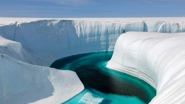 Greenland's ice sheet is melting.
