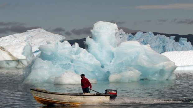 Melting icebergs in Narsaq, Greenland, in July 2012.