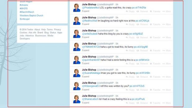 The tweets from Julie Bishop's account.