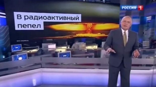 Television presenter Dmitry Kiselyov issued a stark warning about Moscow's nuclear capabilities on his weekly current ...