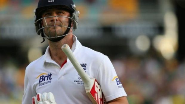 Burnt out: Jonathan Trott walks off from the Gabba.