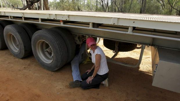 Protest: Coonamble farmer Ted Borowski locks himself onto the axle of a heavy articulated vehicle, bringing a Santos ...