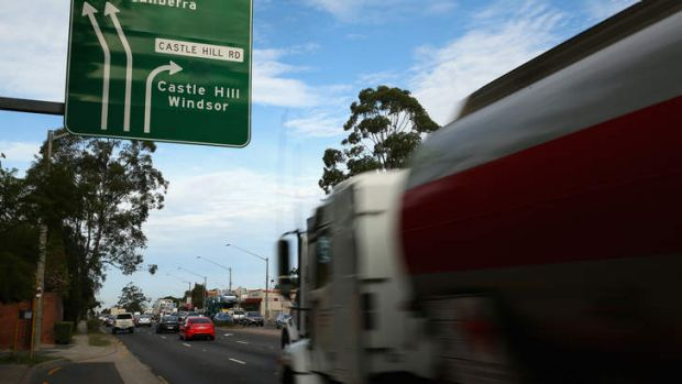Too much congestion: Trucks break down almost twice daily on Pennant Hills Road.