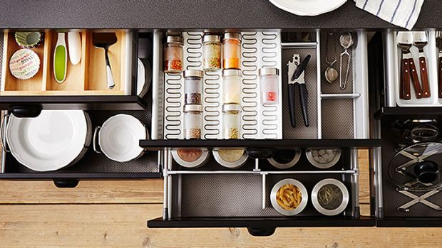 Maximise space by de-cluttering your kitchen and go for space-saving solutions in cabinets and drawers.