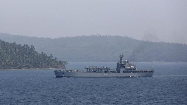 Indian Navy ship INS Kesari arrives at the naval base in Port Blair, the capital of India's Andaman and Nicobar islands. ...