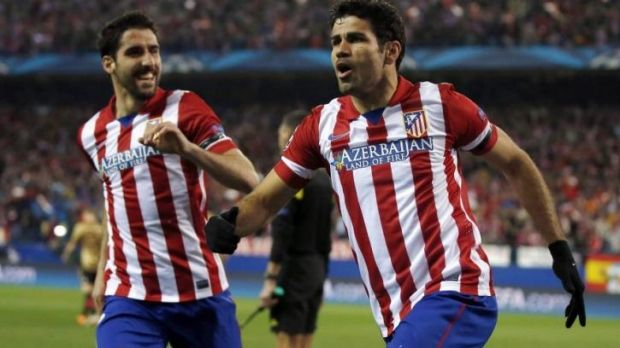 Transfer target: Diego Costa (R) of Atletico Madrid.