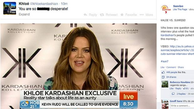 Khloe Kardashian has labelled Seven's early morning show <i>Sunrise</i> 'desperate' after a stoush over pulling the pin ...