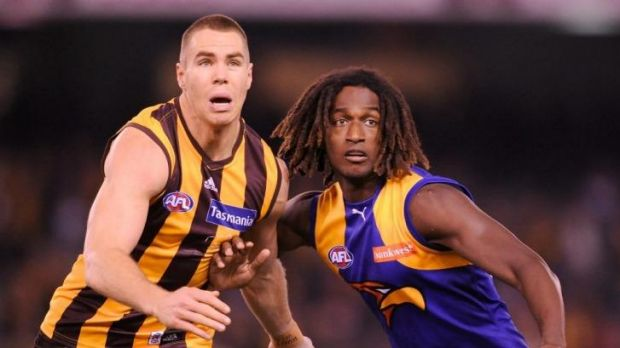 West Coast's Nic Naitanui contests Hawthorn's Max Bailey at Etihad Stadium in June.
