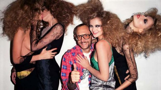 Terry Richardson appears in a photo shoot for Purple Magazine.