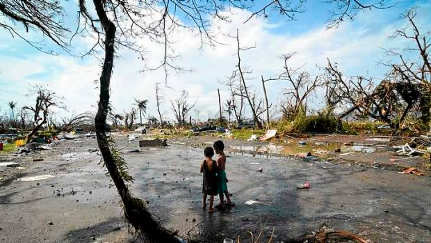 The aftermath of super typhoon Haiyan last November in Leyte, Philippines.
