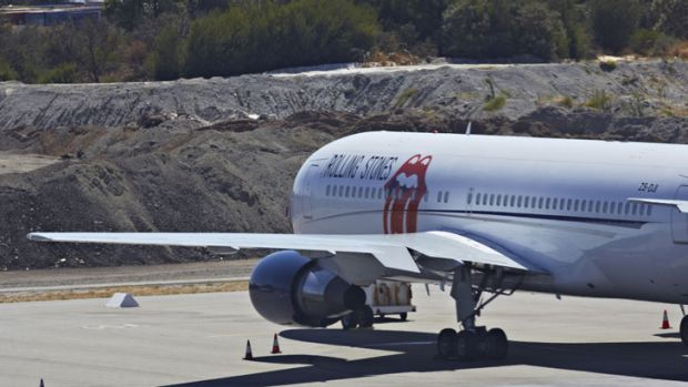 The Rolling Stones' plane remains on the tarmac at Perth Airport.