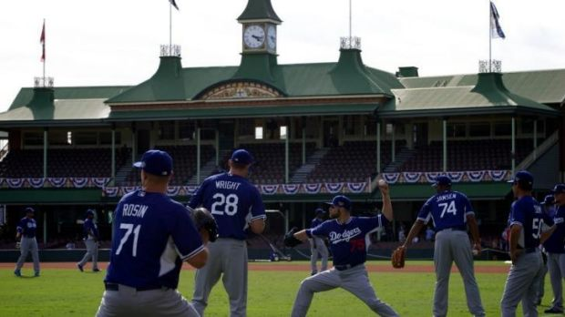 Take me to the ball park: The LA Dodgers practise at the SCG for the first time on Tuesday.