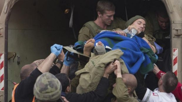 A wounded Israeli soldier is evacuated to a hospital from the occupied Golan Heights on March 18.