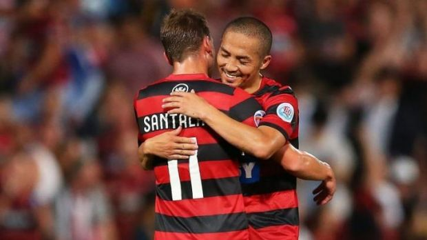 Brothers in arms: Shinji Ono and Brendon Santalab of the Western Sydney Wanderers.